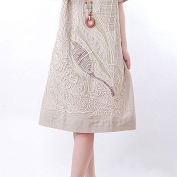 linen Line applique Short sleeve dress