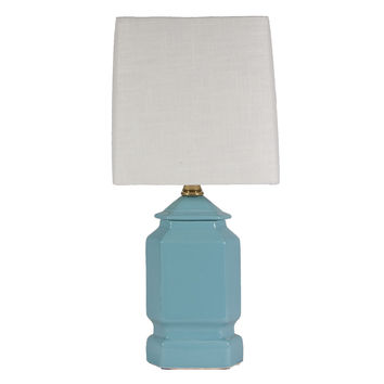 Small Turquoise Blue Ceramic Lamp