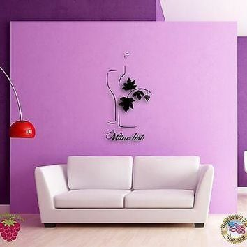 Wall Sticker Vine Wine List Bottle of Wine Cool Modern Decor for Bar Unique Gift z1362