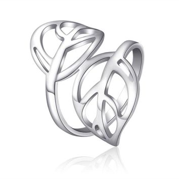 Stainless Steel Ring Leaf Ring Mother's Day Daughter Birthday Anniversary Women Statement Cocktail Party Children Girl