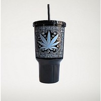 Pot Leaf Bandanna Cup With Straw - 32 oz. - Spencer's