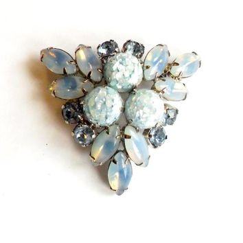 Vintage Opaline Blue Rhinestone Brooch - Confetti Lucite Cabochon - Triangle Brooch - Bridal Fashion - Wedding - Something Blue