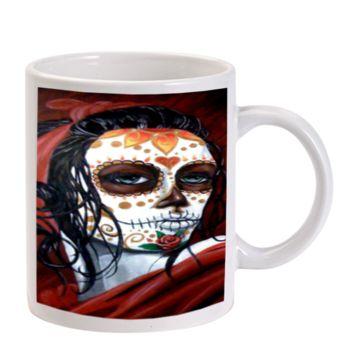 Gift Mugs | Floral Sugar Skull Day Of The Dead Ceramic Coffee Mugs
