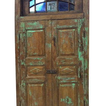 Vintage Antique Doors Rustic Patina Architecture Double Panel Unique Terrace Door Indian Furniture
