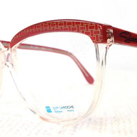 vintage 70s cat eye eyeglasses guy laroche acetate oversize frames glasses eyewear crystal clear designer cherry red pearl gold graphic 203