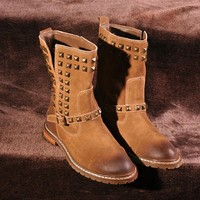 Vintage Brown Distressed Rivet Short Leather Ankle Boots for Women