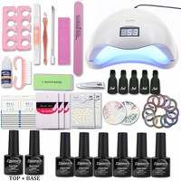 Nail Set With 6W/36W/48W UV LED Lamp for All Gel polish Kit 8ml 6color Gels Nail Polish 1Top 1Base Nail tools Manicure Nail set