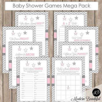 Girl Baby Shower Shower Game Pack - Little Star - Pink and Gray, Baby Shower Activity Set, Bingo, A to Z Baby, Price is Right  INSTANT