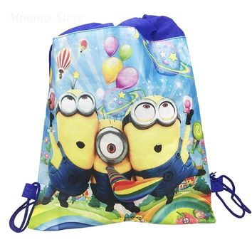 6pc/lot Minions Cartoon Gift Bag Birthday Party Decoration Kids Favors Non-woven Fabric Drawstring Backpack Baby Shower supplies