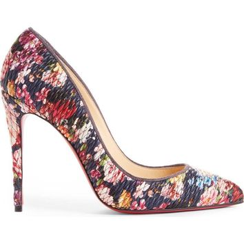 $695 NEW Christian Louboutin Sz 41 Pigalle Follies Matelasse Black Floral Pump