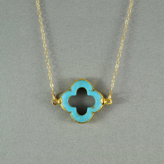 Turquoise Quatrefoil Clover Necklace, 24K Gold Edged, Modern, 14K Gold Fill Chain, Feminine, Eye Catching, Everyday Wear Necklace