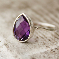 Silver Purple Amethyst Teardrop Ring  Hammered Ring  by OhKuol