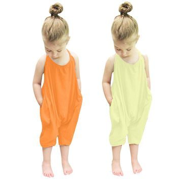 Kids Romper-Toddler Kid Baby Girls Straps Rompers Jumpsuits One Piece.