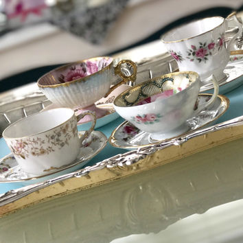 Gold and Glitzy Vintage Mismatched China Tea Cups and Saucers Bridal Shower Tea Party High Tea, Antique Tea Cups