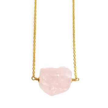 Raw Stone Necklace, Raw Crystal Necklace, Rose Quartz, Pink Gemstone Necklace, Raw Gemstone Necklace, Nugget, Fertility, Love, Heart Chakra