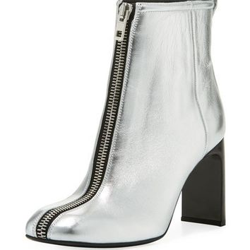 Rag & Bone Ellis Zip-Front Ankle Boot, Silver