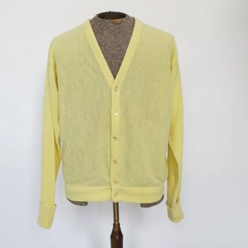Vintage Men's Retro 80s Pickering Active Sportswear Lemon Yellow V-Neck Button Up Cardigan Sweater  Size Large Mens Hipster Preppy Sweater