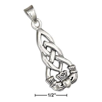 STERLING SILVER ELONGATED CELTIC KNOT WITH CLADDAGH PENDANT