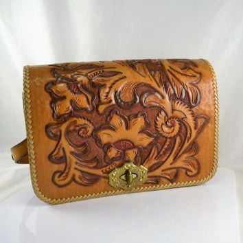 Leather Purse Hand Tooled Mexico Shoulder Bag or Handbag Outside Pocket Included Matching Key Holder Cash Coin Western Fashion