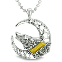 Howling Courage Wolf Moon Stars Amulet Positive Earth Energy Tiger Eye Pendant 18 Inch Necklace