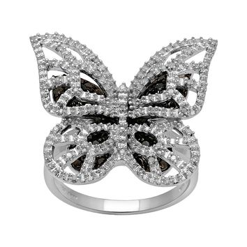 Sterling Silver 1/4-ct. T.W. Black & White Diamond Butterfly Ring