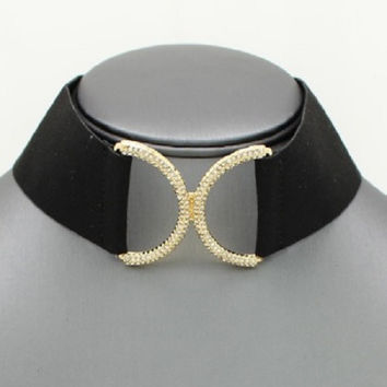 "12.50"" black silver crystal wide collar bib choker necklace .30"" earrings"