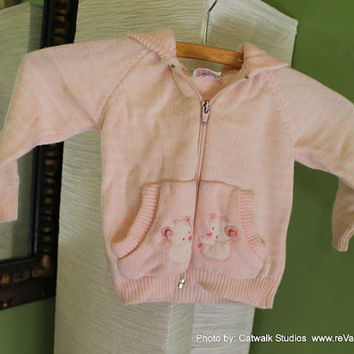 baby pink 18M stripe LS zip up sweater hoodie by revampdcouture