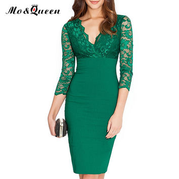 New Women Party Dresses 2016 Fashion Sexy Black Lace Dress Women Bodycon High Waist Pencil Dress Embroidery V Neck Clothes Green