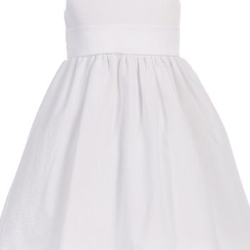 White Cotton Seersucker Dress w PolySilk Sash (Baby 6 months - Girls Size 12)