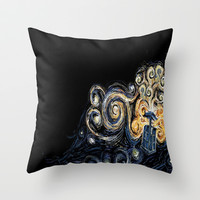Doctor Who Van Gough Throw Pillow by Elyse Notarianni