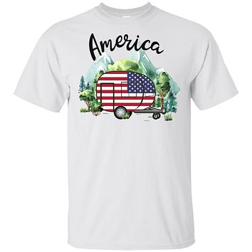 America Camping Camper American Flag Independence Day Gift