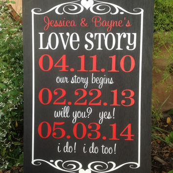 Personalized Wedding - Love Story Important Date Sign with Frame, Wedding Gift , Anniversary Castle Inn Designs - Special Dates