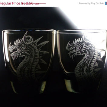 barware Dragon glassware , custom bar set of 2, whiskey, double, smoke glass, hand engraved CIJ Christmas in July , gifts for him
