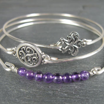 Silver Amethist Bangle Bracelet Set -Victorian Jewelry -Amethyst Jewelry - Purple Amethyst-Filigree-Purple gemstone-Bangle Bracelet Set