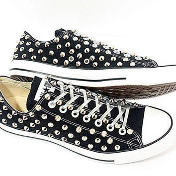 Studded Converse silver stud converse low with custom design blacks sneakers CUSTOMDUO