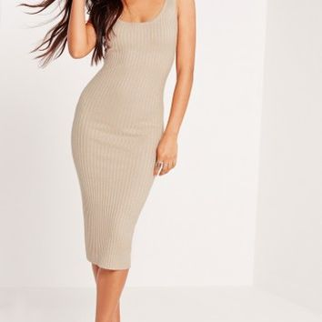 Missguided - Basic Rib Cami Midi Dress Nude