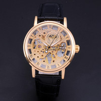 Skeleton hollow fashion hand wind mens black leather strap Mechanical Wrist Watch