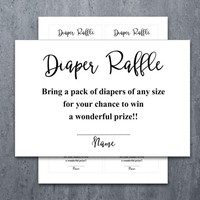 Diaper Raffle Ticket Cards | Printable Baby Shower Games | Insert for Neutral Girl Boy Baby Shower Invitations | Instant Download (v32dr1)