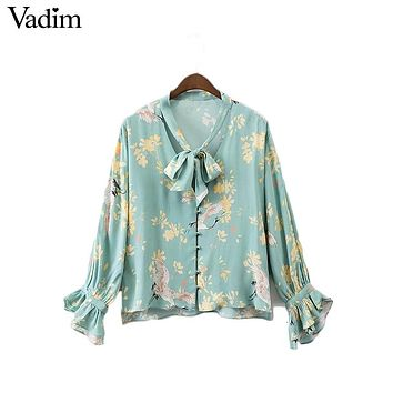 Vadim women sweet ruffles bow tie V neck floral shirts long sleeve loose blouse ladies casual brand tops blusas mujer LT1879
