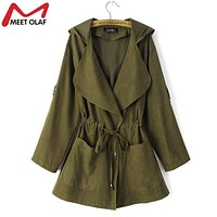 Women Trench Coat Spring Elegant Khaki Drawstring Waist Long Coats For Famale Casual Windbreakers Ladies Raincoat Casacos YL324