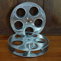 Vintage Metal Film Reels Set of 2 Great for Media Room Decor Repurposing Upcycling Altered Art