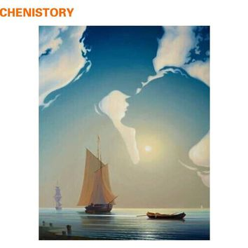 CHENISTORY No Frame Lover Boat DIY Painting By Numbers Unique Gift Home Decoration Modern Wall Art Canvas Painting Artwork 40x50