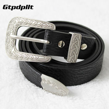 Gtpdpllt Vintage faux leather metal head clasp women belt Buckle adjustable black waistband New fashion girls strap accessories
