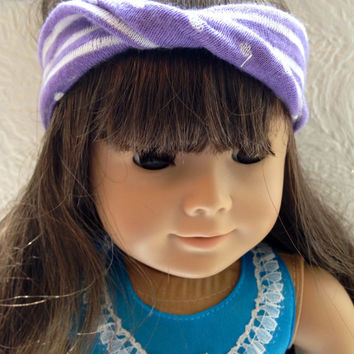 Reversible Polka Dots or Stripes Matching Girl and Doll Headbands, Teal, Purple or Gray and White. Fit for American Girl Doll/ Any doll