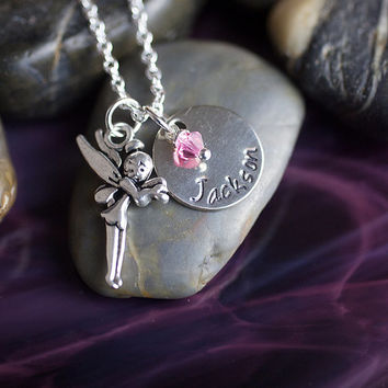 SALE - Fairy Necklace - Personalized Name Necklace - Girls Jewelry - Little Girls Necklace - Tinker Bell Fairies Necklace
