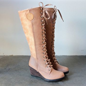 Lace Up Front Wedge Boots   Khaki