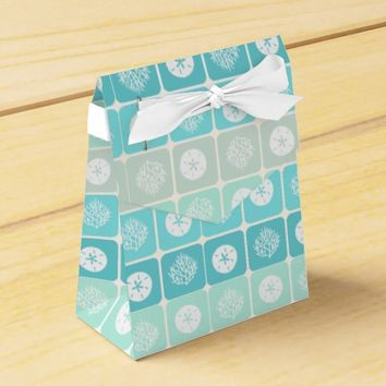 Coral Reef and sand dollar aqua beach patterns Favor Box
