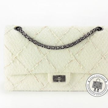 Auth New Chanel Classic 2.55 White Wool Felt Fabric Bag Silver Hardware A37587