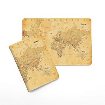 Vintage Old World Map [ Name Customized ] Passport Holder - Novelty Leather Passport Cover - Passport Wallet - Travel Accessory Gift - Travel Wallet for Women and Men_LOKISHOP