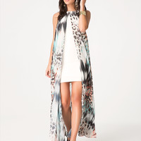 bebe Womens Petite Print Overlay Dress Fever #2